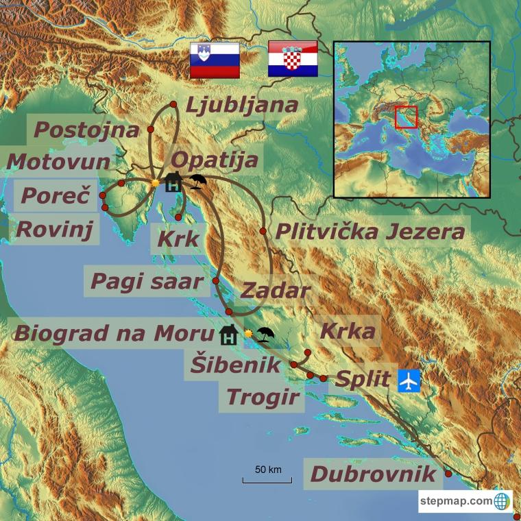 Horvaatia - Sloveenia ringreis