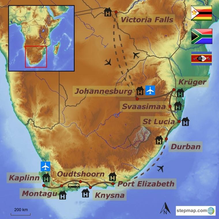 Lõuna-Aafrika ringreis - Svaasimaa ja Victoria Falls Zimbabwes