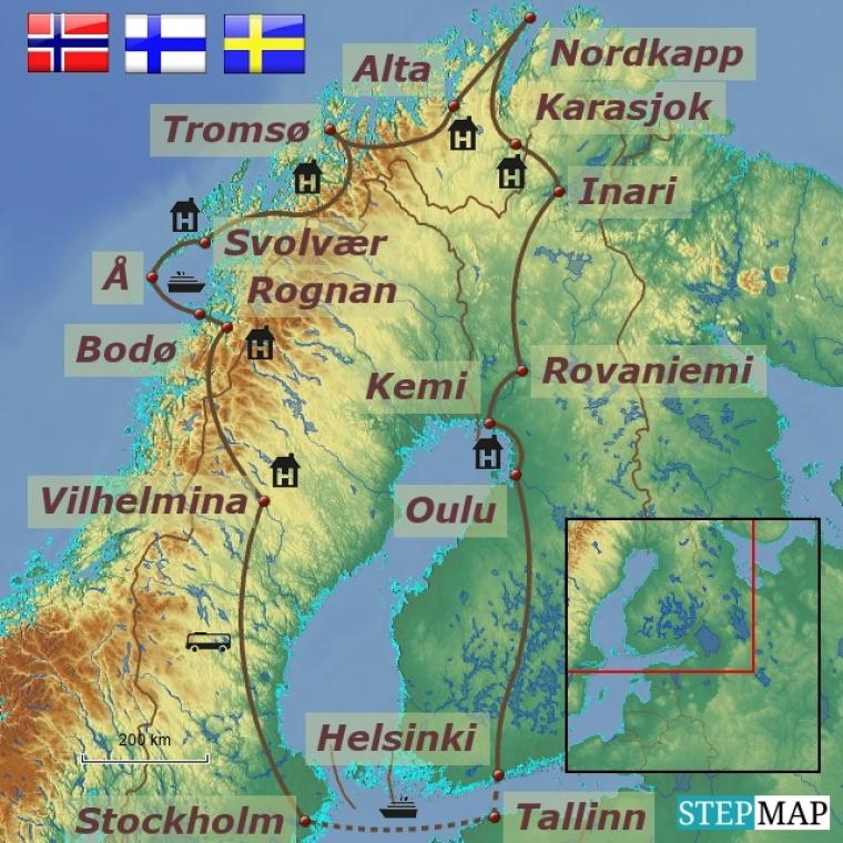 Norra - kesköine päike ja Nordkapp